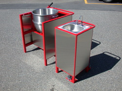 Kettle corn machine and portable sink